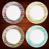 PLATES STRIPED LINES COLORED 4 — Stock Vector