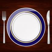 PLATE BLUE AND GOLD FORK KNIFE — Stock Vector