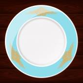 PLATE LIGHT BLUE AND GOLD — Stock Vector