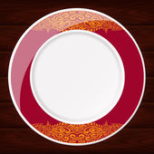 PLATE RED AND GOLD — Stock Vector