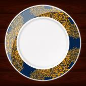 PLATE BLUE AND GOLD — Stock Vector