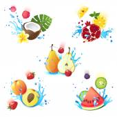 Fruits in splashes — Stock Vector