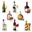 Alcohol drinks and cocktails — Stock Vector #60036173