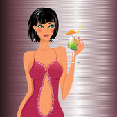 Beautiful girl with a cocktail — Stock Vector