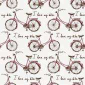 Seamless with hand drawn bicycles — ストックベクタ