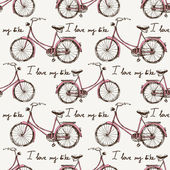 Seamless with hand drawn bicycles — Vector de stock