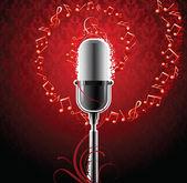 Burning microphone — Stock Vector