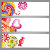 Banners with candies — Stock Vector