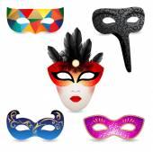Bright carnival masks icons — Stock Vector