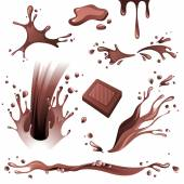 Chocolate splashes set — Stock Vector