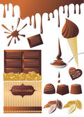 Chocolade set. — Stockvector