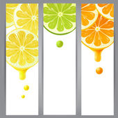 3 banners with lemon, lime and orange — Stock Vector