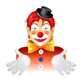 Red haired clown over white background — Stock Vector