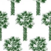 Hand drawn palm tree seamless — Stock Vector