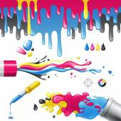 CMYK splashes — Stock Vector