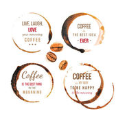 Coffee stains with type — Stock Vector
