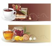 Highly detailed coffee and tea banners — Stock Vector