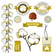 Cotton emblems — Stock Vector