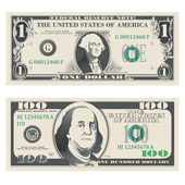 1 and 100 dollar bank notes — Stock Vector