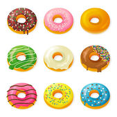 Set of tasty donuts — Stock Vector
