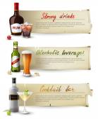 Banners with alcoholic drinks — Stock Vector