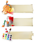 Banners with drawing tools — Stock Vector