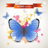 Azure butterfly  — Stock Vector