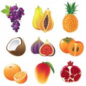 Iconos de frutas — Vector de stock