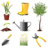 Gardening icons set — Stock Vector