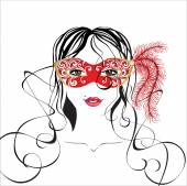 Girl in a carnival mask — Stock Vector