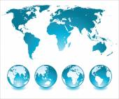 Globes and map — Stock Vector