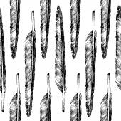 Hand drawn  feather seamless — Vector de stock