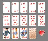 Playing cards - heart suit — Stock Vector