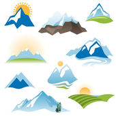 Stylized landscape icons — Stock Vector
