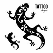 Gecko tattoo — Stock Vector