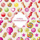 4 lollipop seamless patterns — Stock Vector