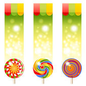 3 banners with lollipops — Stock Vector