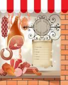 Meat store — Vector de stock