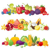 Fruits vegetables and berries borders — Vector de stock