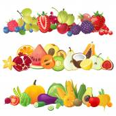 Fruits vegetables and berries borders — Stock Vector