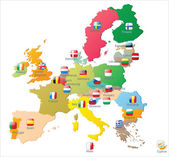 European union map with flags — Stock Vector