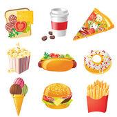 Iconos de comida rápida — Vector de stock