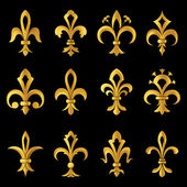 Fleur de lis golden set — Vector de stock