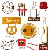 Iconos de comida y bebida — Vector de stock