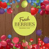 Different berries over wooden background — Stock Vector