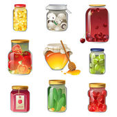 Canned fruits and vegetables  — Stock Vector