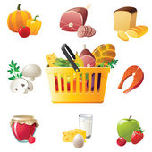 Shopping basket and food icons — Stockvector