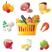 Shopping basket and food icons — Stockvektor