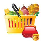 Full shopping basket and wallet — Vetor de Stock