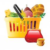 Full shopping basket and wallet — Vector de stock
